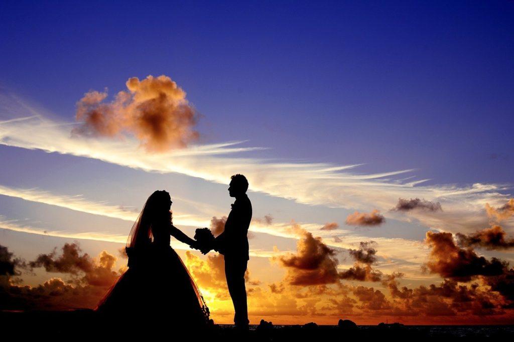 молодожены, закат, свадьба, влюбленные, двое, свадебные фотосессии