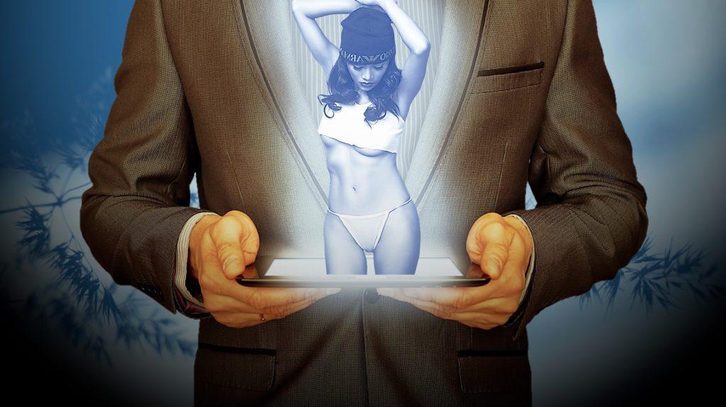 виртуальная любовь, девушка, секси, планшет, мужчина