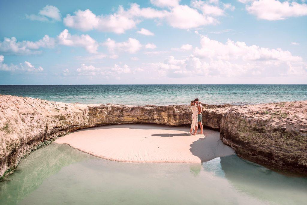 пляж, пара, путешествие, годовщина